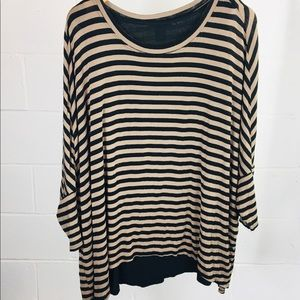 Chelsea & Theodore Black and Brown Striped Top 1X